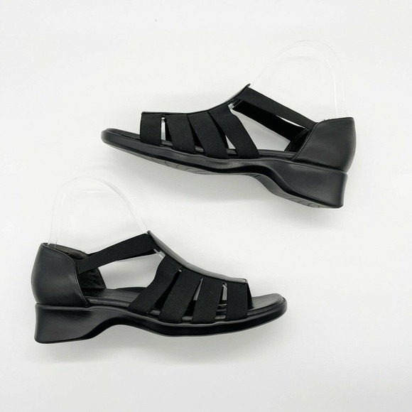 Munro Strappy Wedge Sandals Shoes Sz 8 Black